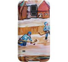 COUNTRY FROZEN POND HOCKEY PAINTINGS Samsung Galaxy Case/Skin
