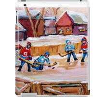 COUNTRY FROZEN POND HOCKEY PAINTINGS iPad Case/Skin
