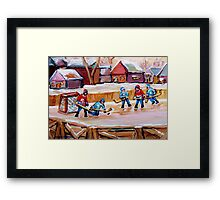 COUNTRY FROZEN POND HOCKEY PAINTINGS Framed Print