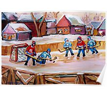 COUNTRY FROZEN POND HOCKEY PAINTINGS Poster