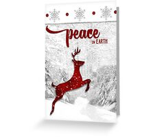 Peace On Earth Reindeer in Red Greeting Card
