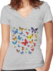 Beauty butterfly Women's Fitted V-Neck T-Shirt