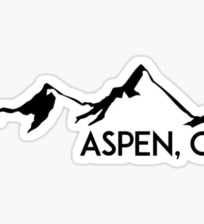 ASPEN COLORADO Ski Skiing Mountain Mountains Skiing Skis Silhouette Snowboard Snowboarding Sticker