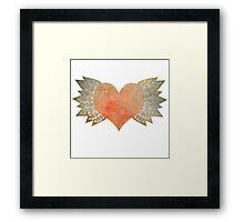 Gold Winged Grunge Heart Framed Print