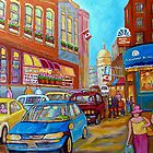 OLD MONTREAL SUMMER STROLL PAINTING by Carole  Spandau