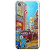 OLD MONTREAL SUMMER STROLL PAINTING iPhone Case/Skin