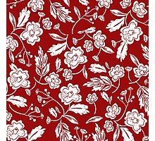 Beautiful Red and White Floral Photographic Print