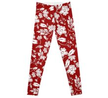 Beautiful Red and White Floral Leggings