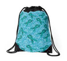 Teal Awareness Ribbon Drawstring Bag