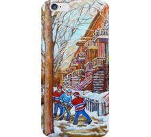 STREET HOCKEY PAINTING MONTREAL SCENES iPhone Case/Skin