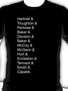 Doctor Who List (White) T-Shirt