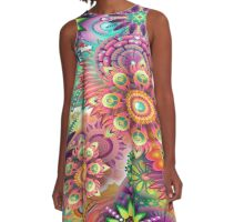 Flowering Fractal Neon Whimsy A-Line Dress