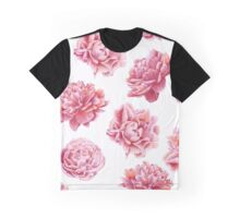 Pink Peonies Floral Pattern Graphic T-Shirt