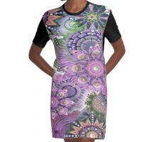 Flowering Fractal Purple Whimsy Graphic T-Shirt Dress