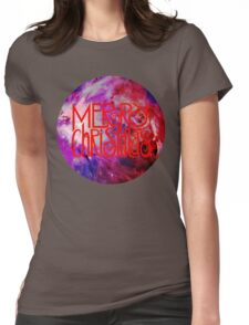 Merry Christmas nebula galaxy Womens Fitted T-Shirt