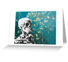 Skull with burning cigarette on cherry blossom Greeting Card