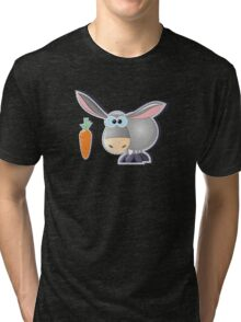 gray donkey with carrot Tri-blend T-Shirt