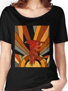 Cool Artsy Retro Hawk in Flight Art Deco Women's Relaxed Fit T-Shirt