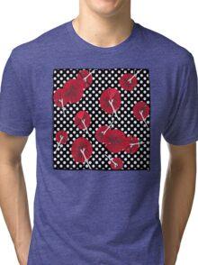 Red carnations and polka dots nº2 Tri-blend T-Shirt
