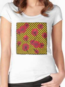Red carnations and polka dots nº1 Women's Fitted Scoop T-Shirt