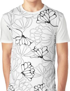 Black and White Floral Graphic T-Shirt
