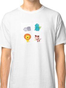 Cute safari animals set - hippo, rhino, lion and monkey Classic T-Shirt