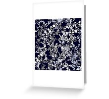 Leaves and Branches Pattern in Blue and Grey Greeting Card