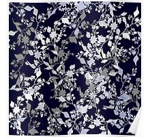 Leaves and Branches Pattern in Blue and Grey Poster