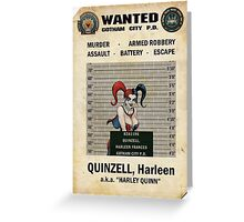 Harley Quinn - Gotham's Most Wanted Greeting Card