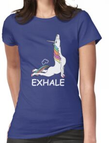 EXHALE FUNNY T-SHIRT Womens Fitted T-Shirt