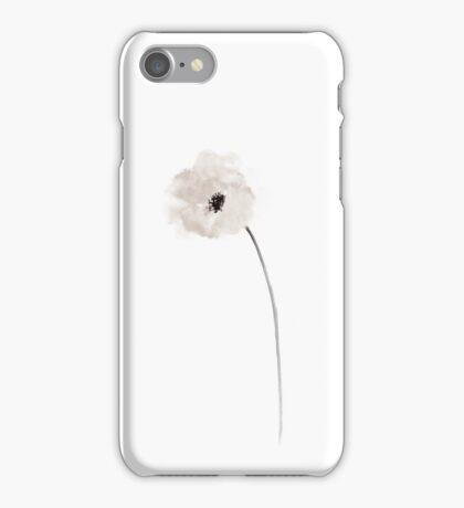 White Poppy Floral Illustration Nursery Room Watercolour iPhone Case/Skin