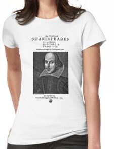 Shakespeare First Folio Frontpiece - Simple Black Version Womens Fitted T-Shirt