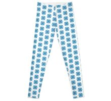 Blue Abstract Flower Leggings