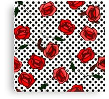 Red roses and polka dots nº4 Canvas Print