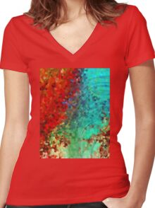 Colorful Abstract Art - Rejoice - Sharon Cummings Women's Fitted V-Neck T-Shirt