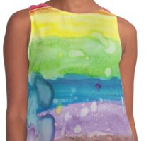 Rainbow with Raindrops Watercolor by Hope Contrast Tank