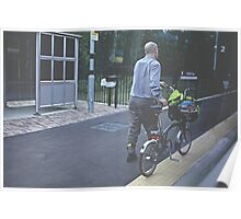 Cyclist On The Platform! Poster