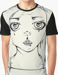 sad girl linear Graphic T-Shirt