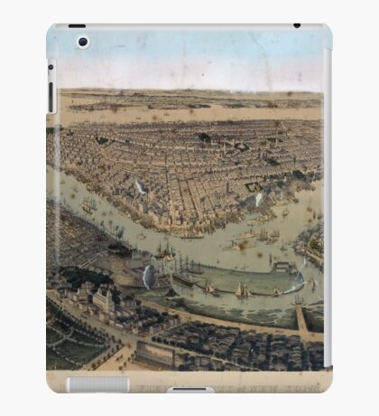080 Brooklyn Bird's eye view of the City of New York Williams Burg iPad Case/Skin