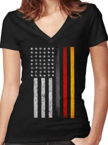 German American Flag Women's Fitted V-Neck T-Shirt