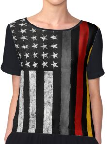 German American Flag Chiffon Top