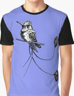 black and white paint draw eagle hummingbird  Graphic T-Shirt