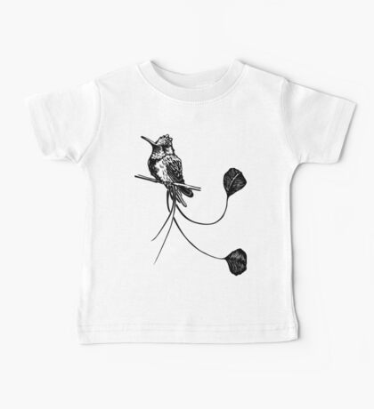 black and white paint draw eagle hummingbird  Baby Tee