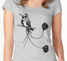 black and white paint draw eagle hummingbird  Women's Fitted Scoop T-Shirt