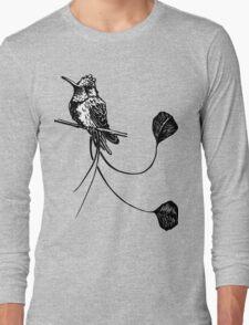 black and white paint draw eagle hummingbird  Long Sleeve T-Shirt