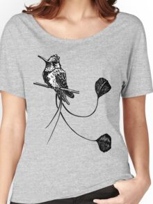 black and white paint draw eagle hummingbird  Women's Relaxed Fit T-Shirt