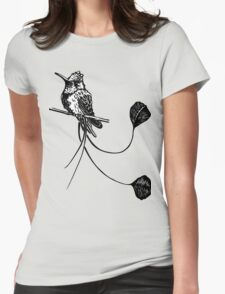 black and white paint draw eagle hummingbird  Womens Fitted T-Shirt