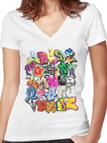 Graffiti Alphabet  Women's Fitted V-Neck T-Shirt