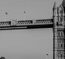 Red London Bus crossing Tower Bridge  Sticker