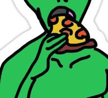 Pizza Slurping Alien Sticker
